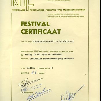 Festival certificaat van Stedelijke Muziekvereniging Zevenaar 1985