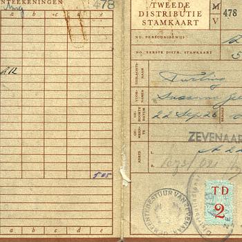 Tweede distributiestamkaart van Susanna  Geertruida Turling. ca. 1944
