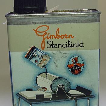 Blik van metaal met stencilinkt door H. van Gimborn N.V. Zevenaar