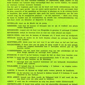 Spelregels behorende bij een bordspel getiteld 'Liemers reisspel' papier door Akkermans Zevenaar 1972