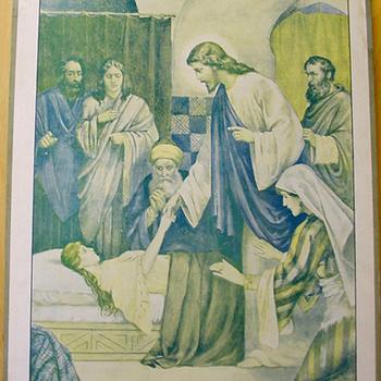 Schoolplaat 'La Résurrection de Jaïre' papier op karton, uitgegeven door Thomas Nelsons & Sons circa 1900-1910