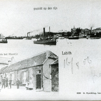Ansichtkaart met twee zwart-wit foto's van het gezicht op de Rijn en café het Haantje in Lobith in 1904