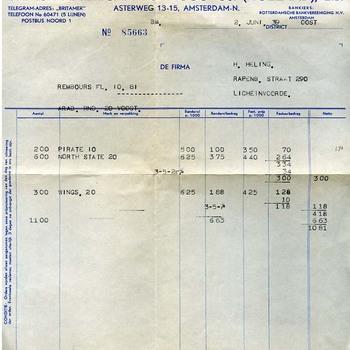 Factuur British-American Tobacco Co. (Holland) Ltd. papier, 2 juni 1939