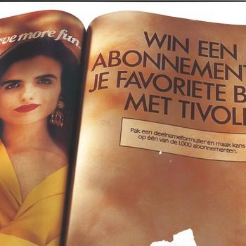 Reclamemateriaal van Tivoli: een kartonnen houder/ standaard voor folders van de bladenactie van Tivoli voor Cosmopolitan, Ariadne, Marie Claire en Viva 1991