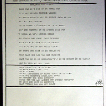 Het Onze Vader-gebed op papier in Zevenaars dialect 1986