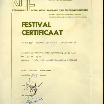 Festival certificaat en beoordelingsstaten van de Stedelijke Muziekvereniging Zevenaar 1984