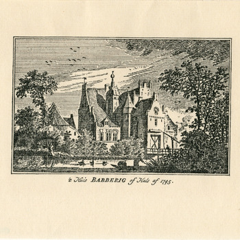 Gravure met afbeelding van Huis Babberich op papier naar een tekening van Jan de Beijer in 1745