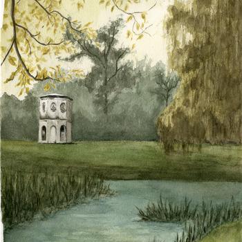 Aquarel voorstellende de duiventoren van kasteel Halsaf te Babberich door F. van Bindsbergen 1981