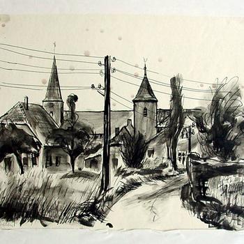 Tekening op papier met Oostindische inkt voorstellende het gehucht Megchelen bij het dorpje Azewijn door Ad Dekkers circa 1955