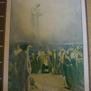 Schoolplaat 'Ascention de N.S. Jésus Christ' papier op karton, W.H. Margetson, uitgever Thomas Nelson and Sons circa 1900-1910