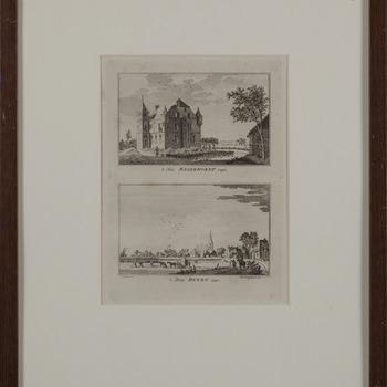 Prent ' 't Huis Magerhorst en 't Dorp Duiven' papier in lijst, circa 1742