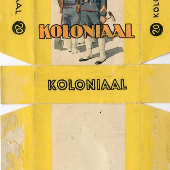 Ontwerp van een sigarettenpakje van het merk Koloniaal ca. 1900-1950