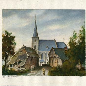 Aquarel voorstellende het dorp Etten bij Gendringen door D. den Dolderen 1981