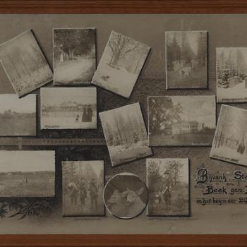 Fotocollage getiteld Bijvanck, Steeg en Beek gem. Bergh in het begin der 20ste eeuw. circa 1900