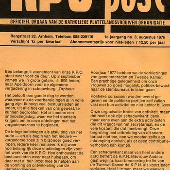 KPO-post, officieel orgaan van de Katholieke Plattelandsvrouwen Organisatie aug. 1976