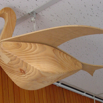 Schietschijf voorstellende een papegaai van hout circa 1980
