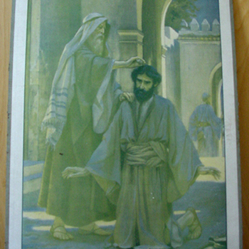 Schoolplaat 'Saul sacré Roi' papier op karton, Frank Adams, uitgever Thomas Nelson and Sons circa 1900-1910
