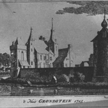 Gravure 't Huis Grondstein' op papier, naar een tekening van Jan de Beijer, 1745