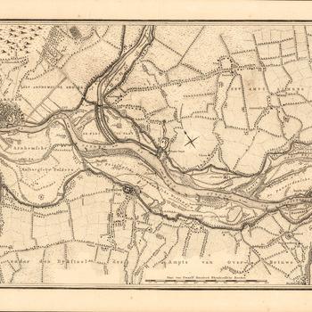 Rivierkaart op papier van het gebied van de grens tot Arnhem door J. Engelman circa 1780