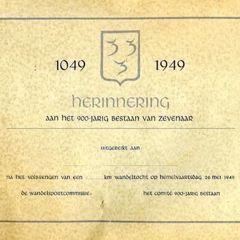 Herdenkingskaart van papier '900-jarig bestaan van Zevenaar' uitgegeven door De Wandelsportcommissie 26 mei 1949