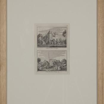 Prent ''t Huis het Wilt bij Gendringen' en ''t dorp Etten bij Gendringen' op papier in een lijst circa 1743