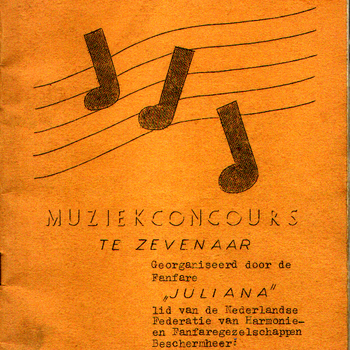 Programma van het nationaal federatief muziekconcours te Zevenaar georganiseerd door de Fanfare Juliana in 1952