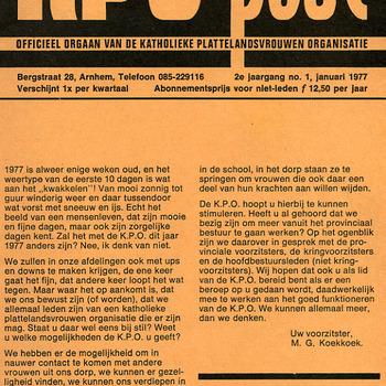KPO-post. Officieel orgaan van de Katholieke Plattelandsvrouwen Organisatie Jan. 1977