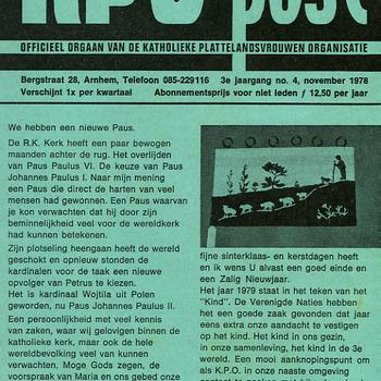 KPO-post, officieel orgaan van de Katholieke Plattelandsvrouwen Organisatie nov. 1978