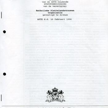 Afschrift van de AKTE houdende STATUTENWIJZIGING van de vereniging: Katholieke Plattelandsvrouwen Organisatie gevestigd te Arnhem 10 feb. 1998