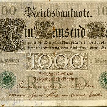 Papiergeld bankbiljet van papier ter waarde van duizend deutchmark circa 1910