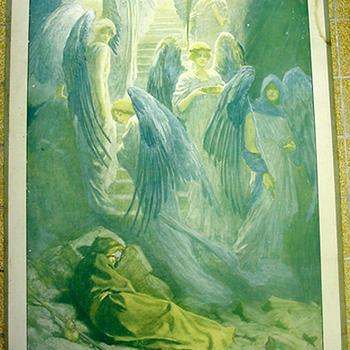 Schoolplaat 'Le songe de Jacob' papier op karton door W.H. Margetson uitgegeven door Thomas Nelson and Sons circa 1905