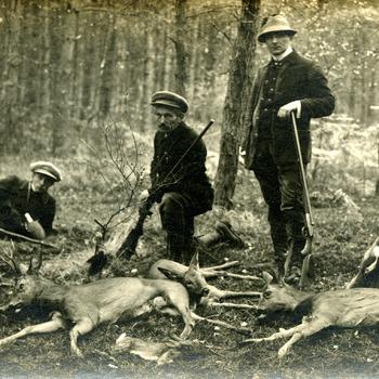 Foto tijdens de jacht op landgoed de Bijvank ca. 1925
