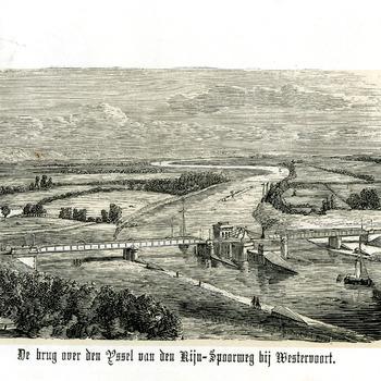 Ets op papier voorstellende de spoorbrug over de IJssel bij Westervoort circa 1800-1900