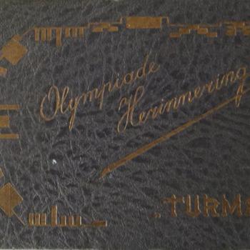 Klein verzamelalbum met de titel 'Olympiade Herinnering Turmac' door Turmac 1928