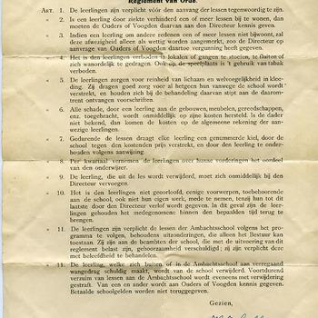Reglement op papier 'Reglement van Orde' van de Ambachtsschool voor Doetinchem en omstreken ca. 1927