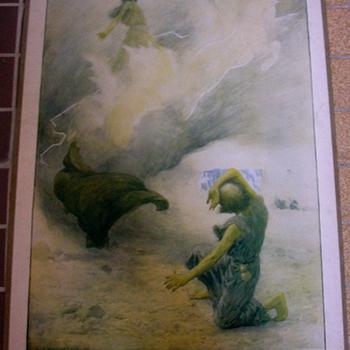 Schoolplaat 'Elie emporté au ciel' papier op karton door W.H. Margetson uitgegeven door Thomas Nelson and Sons circa 1900-1910