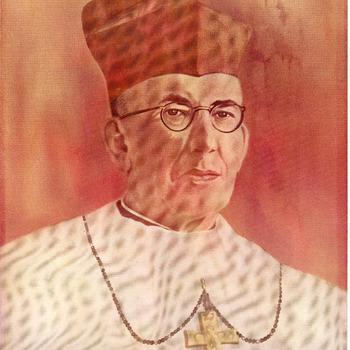 Drukwerk voorstellende Kardinaal Johannes de Jong in kleurdruk op papier