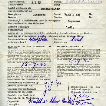 Document van aanwijzing van het gewestelijk arbeidsbureau voor Hendrikus A.J.van Uum 12-7-1943