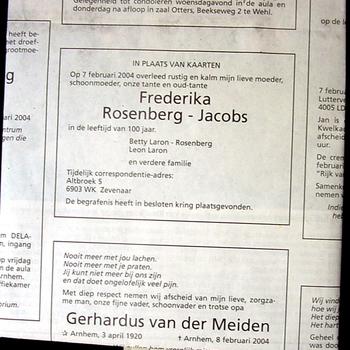 Rouwadvertentie van Frederika Rosenberg-Jacobs 2004