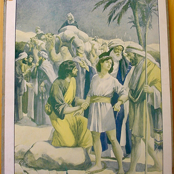 Schoolplaat 'Joseph vendu parses frères' papier op karton, uitgever Thomas Nelson and Sons circa 1905