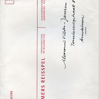 Enveloppe behorende bij een bordspel getiteld 'Liemers reisspel' papier, door Akkermans, Zevenaar, 1972