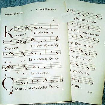Bladmuziek op papier gebruikt in de R.K. Parochie St. Franciscus te Babberich