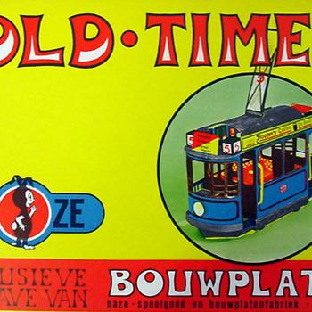 Old-Timer bouwplaat van papier uitgegeven door Haze speelgoed- en bouwplatenfabriek te Zevenaar circa 1940