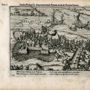 Gravure van papier voorstellende de inname van de schans bij Westervoort door Staatse troepen op 15 oktober 1585