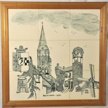 Tegeltableau van keramiek beschilderd met afbeeldingenvan diverse Zevenaarse gebouwen in houten lijst vervaardigd in 1980