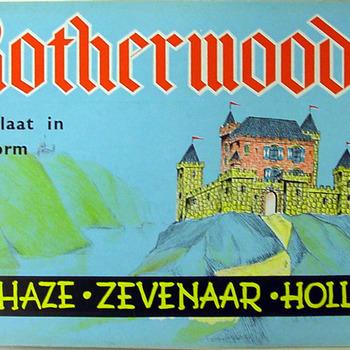 Bouwplaat van Kasteel Rotherwood van papier uitgegeven door Haze speelgoed- en bouwplatenfabriek Zevenaar circa 1940