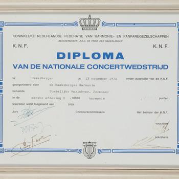Diploma van de Nationale Concertwedstrijd in Haaksbergen 13-11-1976