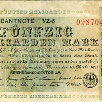 Papiergeld bankbiljet van papier 10 oktober 1923 Berlijn Duitsland.