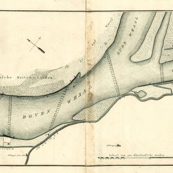 Rivierkaart voorstellende de Waal - Pannerdens Kanaal - Bijlandsche Kanaal door landmeter J. Engelman en graveur Veelwaard 1797