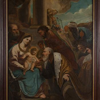 Schilderij olieverf op hout voorstellende de aanbidding van het kind Jezus door de drie Koningen afkomstig uit de Andreas-Mulo te Zevenaar door G F...g ca. 1829